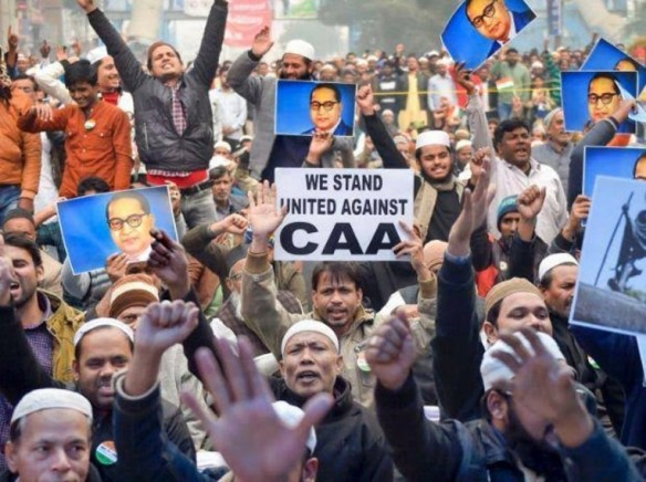 anti-CAA protests with Ambedkar posters